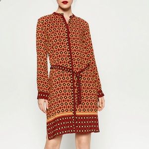 nwt ZARA WOMAN contrast print tunic dress S